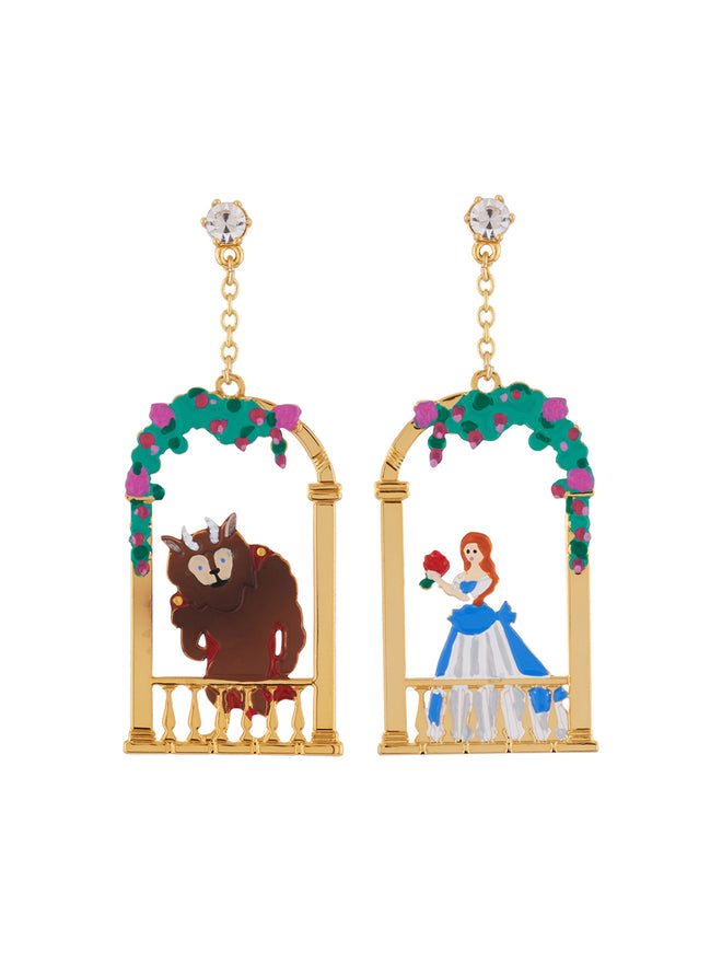 Beauty Like Beast The Beauty and The Beast On Their Balconies Asymmetrical Clip Earrings