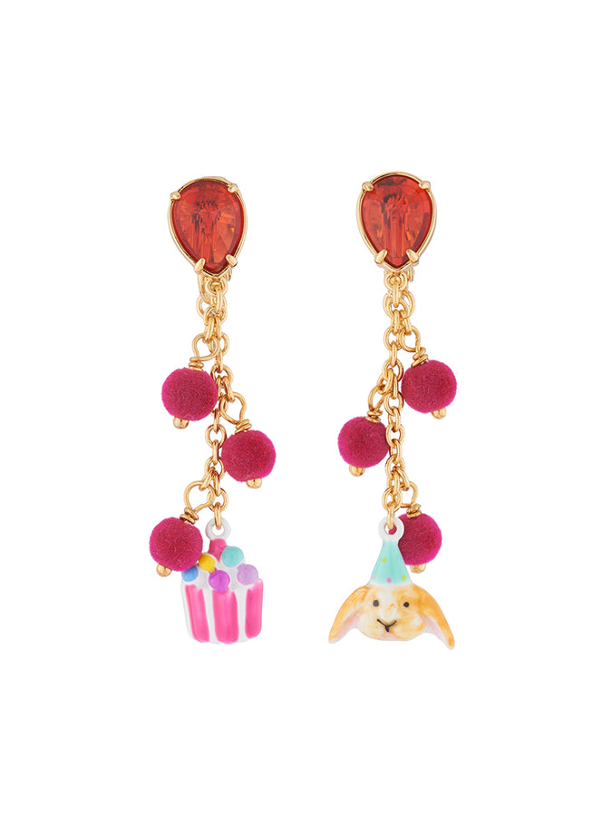 Benjamin the bunny and a candy jar hanging clip-on earrings