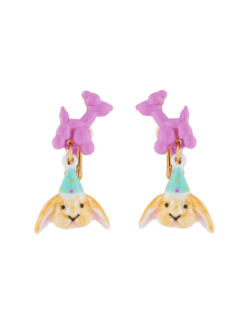 Benjamin the bunny and his balloon sculpture clip-on earrings