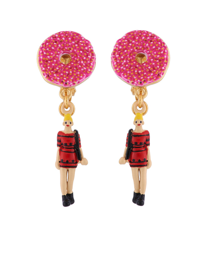 Hello New York Girl and Donuts Clip Earrings - Multicolor