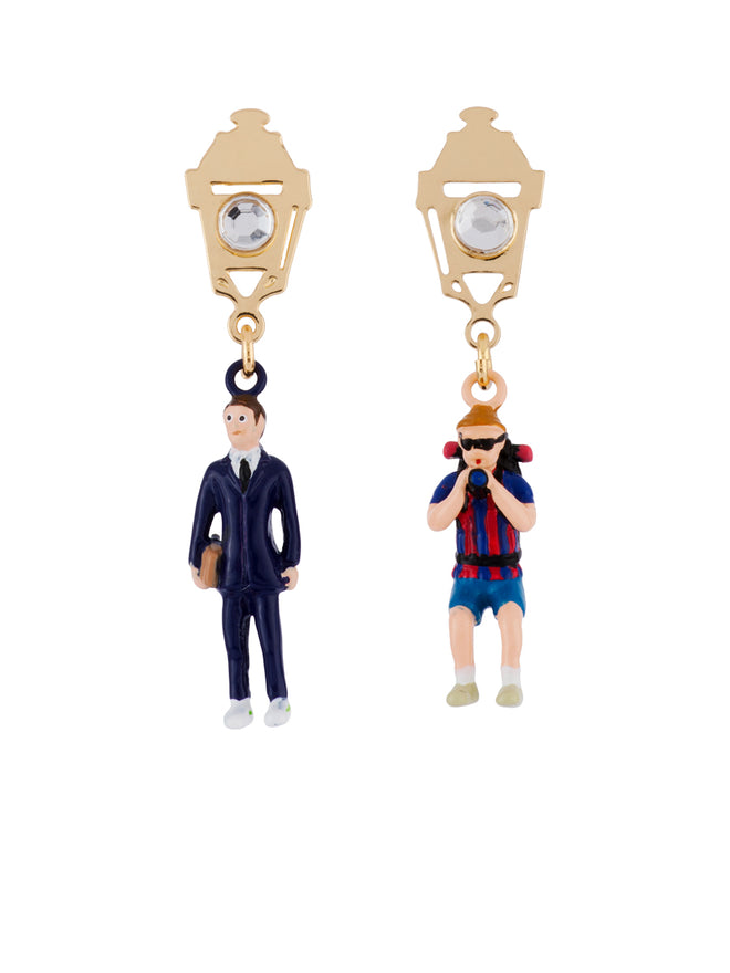 Hello Paris Paris Tourist Vs Business Man Asymmetrical Earrings