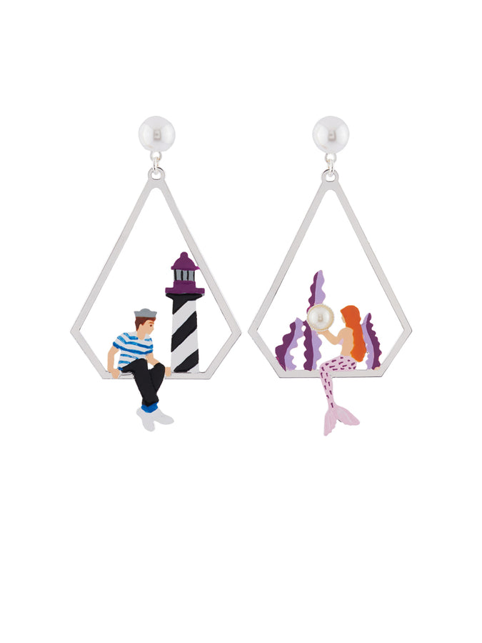 I Am A Mermaid and Sailor Asymetrical Clip Earrings