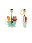 Joyland Happy Bear Cub and Duck In The Mad Hatter's Tea Cups Clip Earrings Alternate View