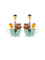 Joyland Happy Bear Cub and Duck In The Mad Hatter's Tea Cups Clip Earrings