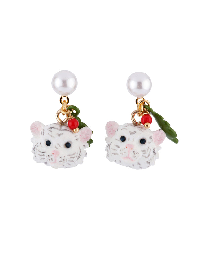 Les Nereides Loves Animals Little White Tiger and Leaf Clip Earrings