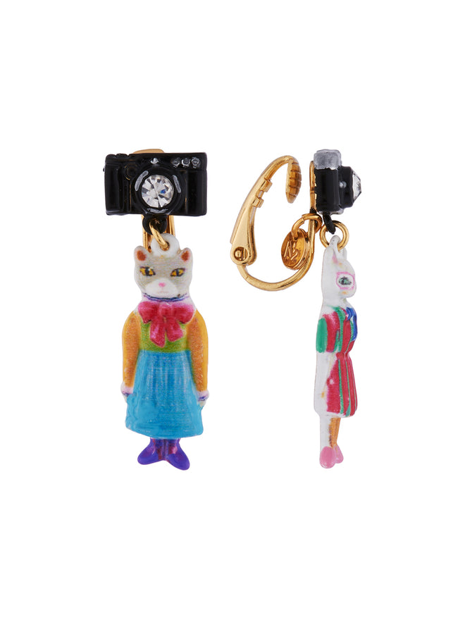 N2 x Les Néréides Loves Animals Duo of Cats Wearing Vintage Dresses and Camera Clip Earrings Alternate View