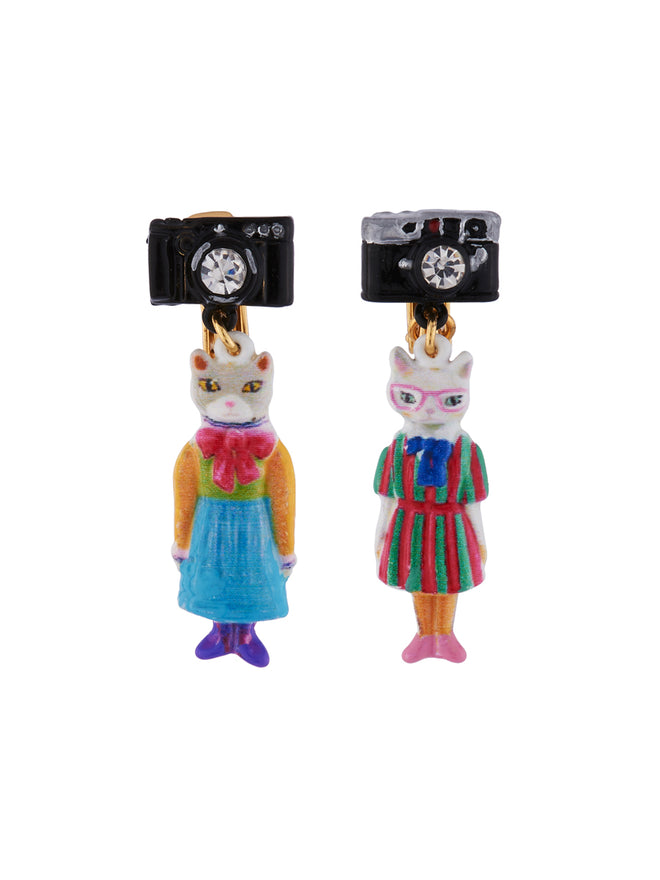 N2 x Les Néréides Loves Animals Duo of Cats Wearing Vintage Dresses and Camera Clip Earrings