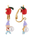 Snow White Little Apple with Dwarf and Bead Clip Earrings
