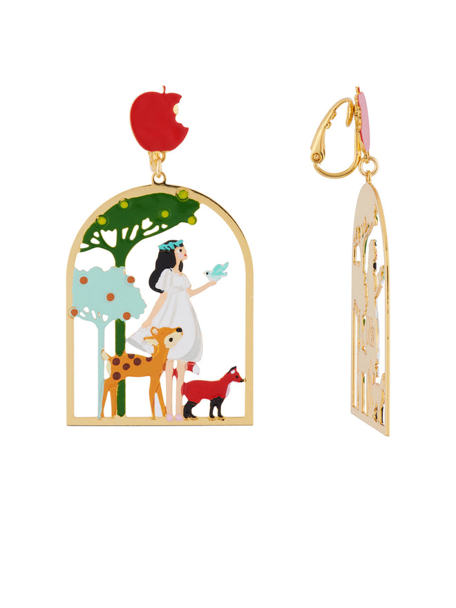 Snow White with Her Friends In The Woods Clip Earrings Alternate View