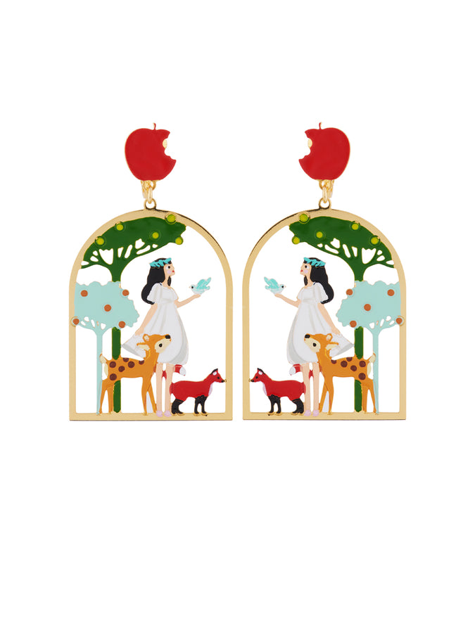 Snow White with Her Friends In The Woods Clip Earrings