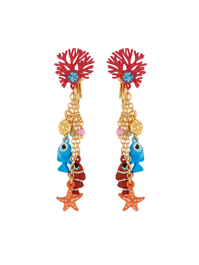 Under The Ocean Branch of Coral and Fishes, Star and Pearls Charms Clip Earrings