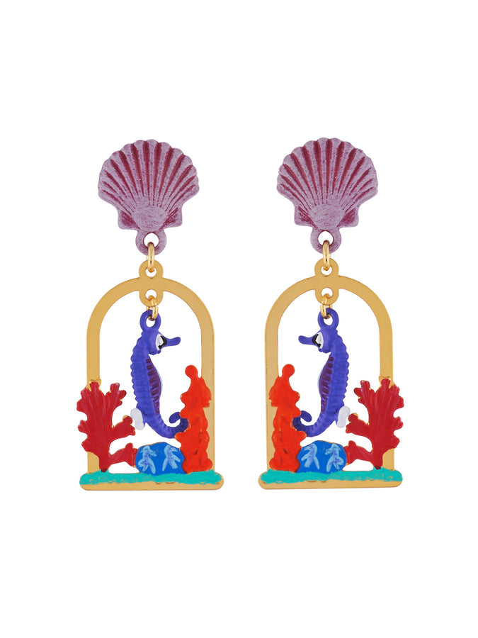 Under The Ocean Seahorse Swimming Among Aquatic Plants Clip Earrings
