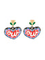 Yes Heart dangling clip-on earrings