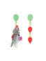 Animals Circus Cats and balloons asymmetrical dangling stud earrings