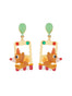 Animals Circus Clown bear dangling stud earrings
