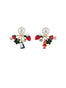 Into The Woods Large Pearl and Little Red Riding Hood In The Forest Clasp Earrings