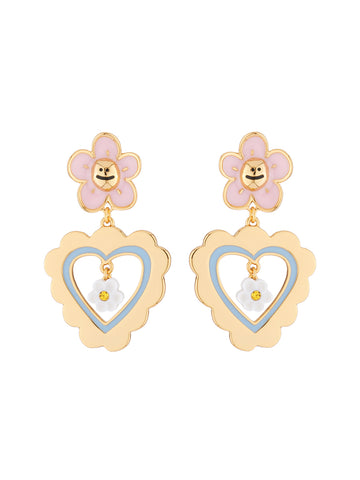 N2 x Roca Balboa Little pink daisy and heart stud earrings