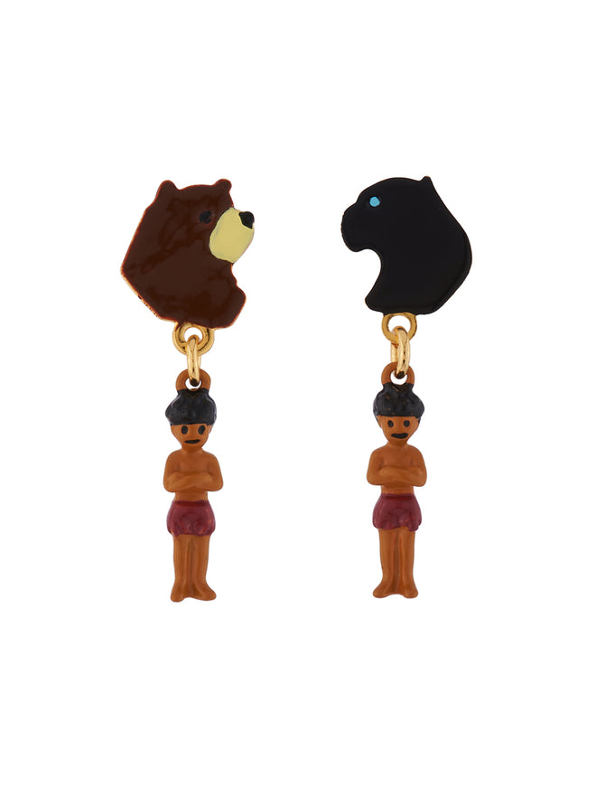Once Upon A Time Baloo, Bagheera and Mowgli Asymmetrical Earrings