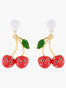 Scrumptious Epic Smiling Cherries Stud Earrings