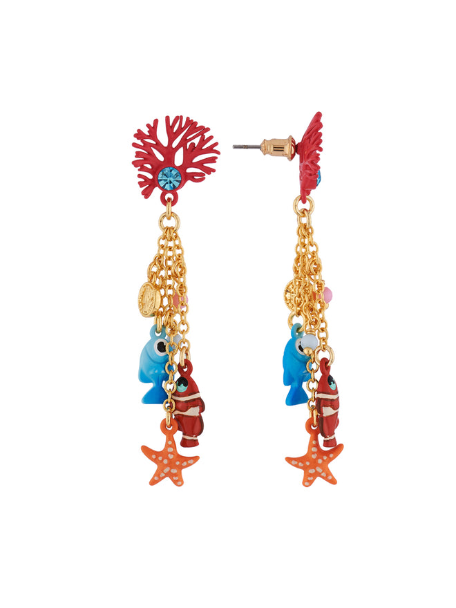 Under The Ocean Branch of Coral and Fishes, Star and Pearls Charms Earrings Alternate View