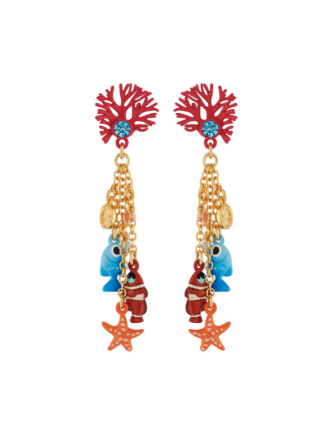 Under The Ocean Branch of Coral and Fishes, Star and Pearls Charms Earrings