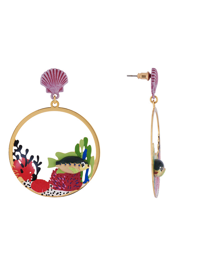 Under The Ocean Fish Swimming Among Colourful Corals Large Hoops Earrings Alternate View