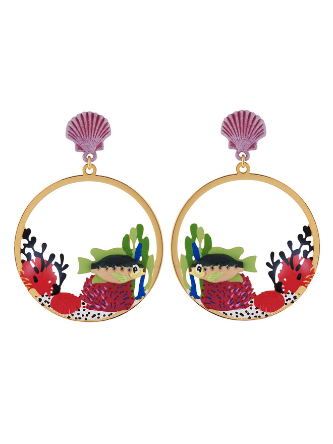 Under The Ocean Fish Swimming Among Colourful Corals Large Hoops Earrings