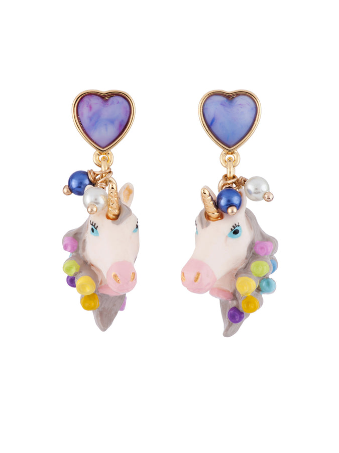 Unique Unicorn Face with Hair Curler In Its Mane Earrings