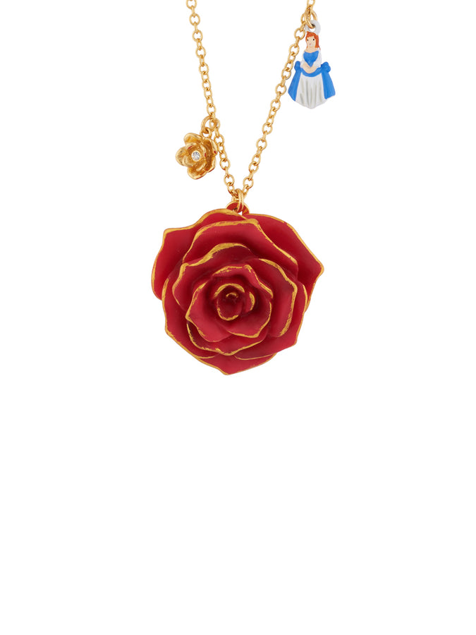 Beauty Like Beast Red Rose and The Beauty, The Beast and Candelarbrum Charms Long Necklace