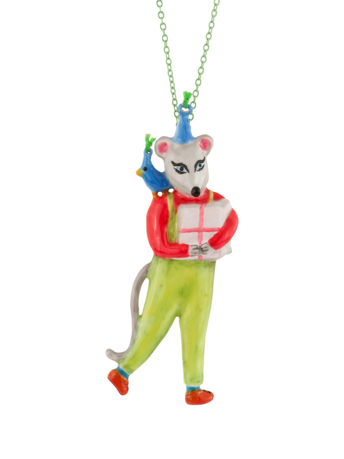 Birthday Mouse Little Mouse with Arms Filled with Gifts Long Necklace