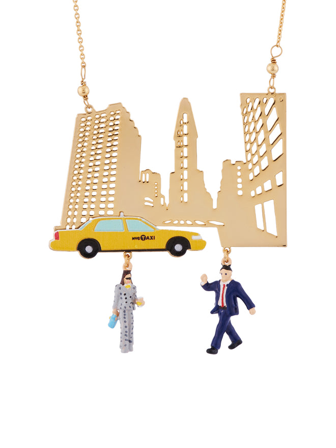 Hello New York Hailing A Taxi In Times Square Necklace