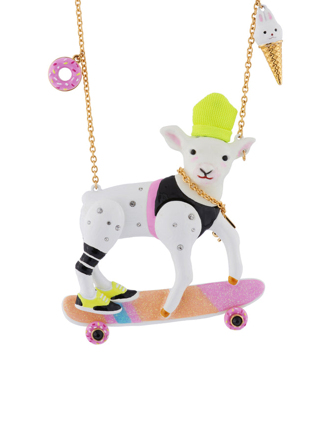 Kind and Happy Zoé The Korean Lamb on Her Skateboard Necklace