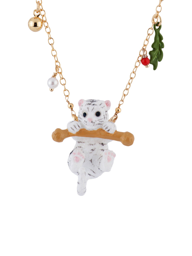 Les Nereides Loves Animals Little White Tiger on Its Branch Necklace