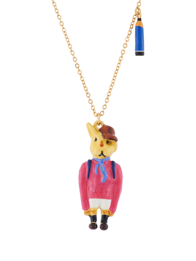 Les Nereides Loves Animals Rabbit Brother In His Schoolchild Outfit and Charms Necklace