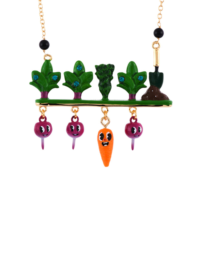 My Veggie Garden Carrot and Radishes Under Ground Necklace
