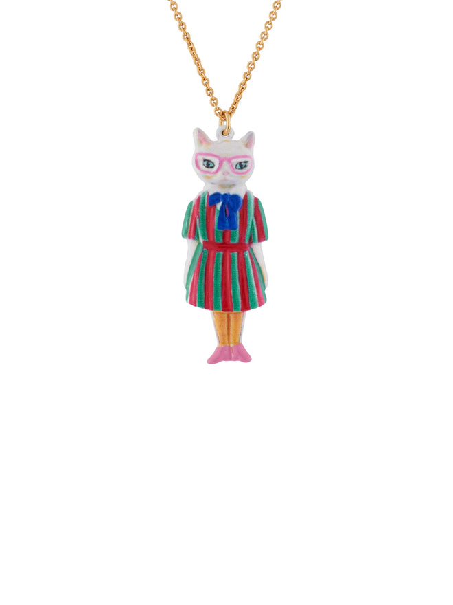 N2 x Les Néréides Loves Animals Cat Wearring Vintage Striped Dress and Charms Necklace