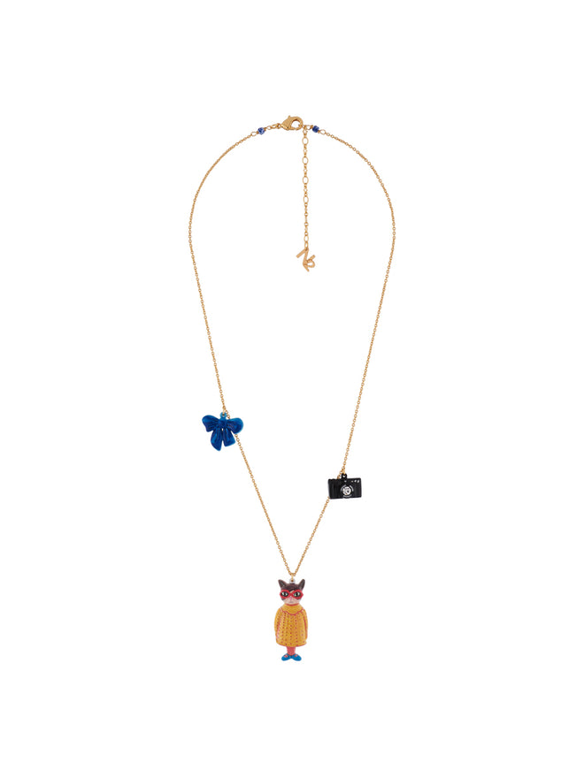 N2 x Les Néréides Loves Animals Cat Wearring Vintage Yellow Dress and Charms Necklace Alternate View