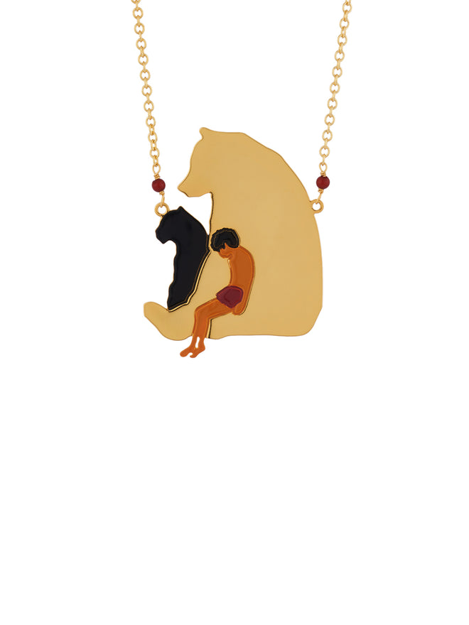 Once Upon A Time Mowgli Seated On His Friend Baloo Long Necklace