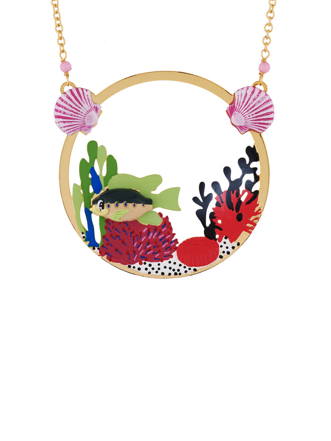 Under The Ocean Fish Swimming Among Colourful Corals Necklace