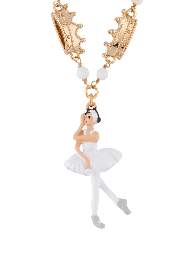 White ball white swan ballerina necklace les nrides white ball white swan ballerina necklace aloadofball Images