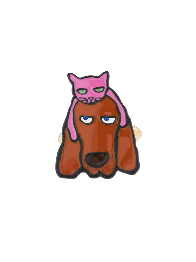 N2 x Les Néréides Loves Animals Basset hound and cat adjustable ring