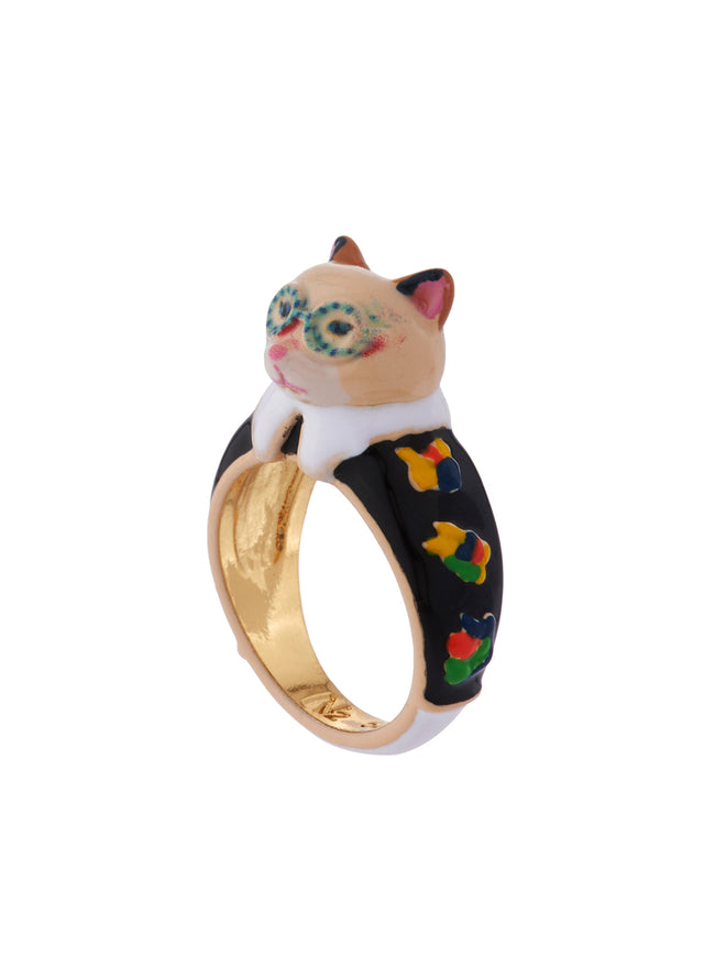 N2 x Les Néréides Loves Animals Cat Wearring Vintage Black Flowered Dress and Blue Glasses Ring - Multicolor Alternate View