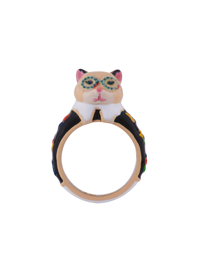 N2 x Les Néréides Loves Animals Cat Wearring Vintage Black Flowered Dress and Blue Glasses Ring - Multicolor