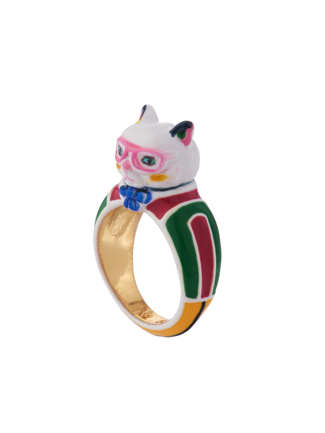 N2 x Les Néréides Loves Animals Cat Wearring Vintage Striped Dress and Pink Glasses Ring - Multicolor Alternate View
