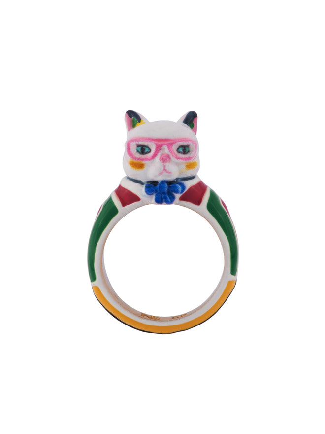 N2 x Les Néréides Loves Animals Cat Wearring Vintage Striped Dress and Pink Glasses Ring - Multicolor