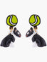 N2 X Les Nereides Loves Animals Bull Terrier And Tennnis Ball Clip On Earrings