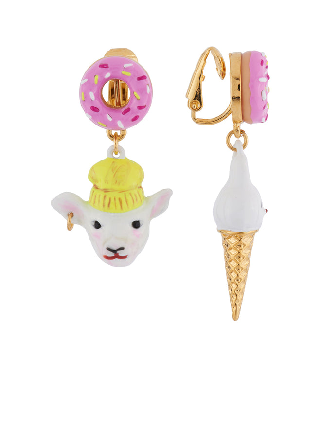 Kind and Happy Zoé The Lamb and Her Rabbit Ice Cream Asymetrical Clip Earrings Alternate View