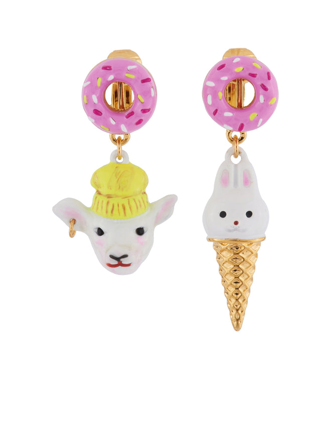 Kind and Happy Zoé The Lamb and Her Rabbit Ice Cream Asymetrical Clip Earrings