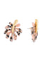 Splash Black and pink tropical leaf stud earrings Alternate View