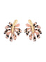 Splash Black and pink tropical leaf stud earrings